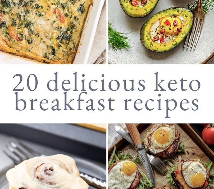 Graphic for 20 keto breakfast recipes roundup