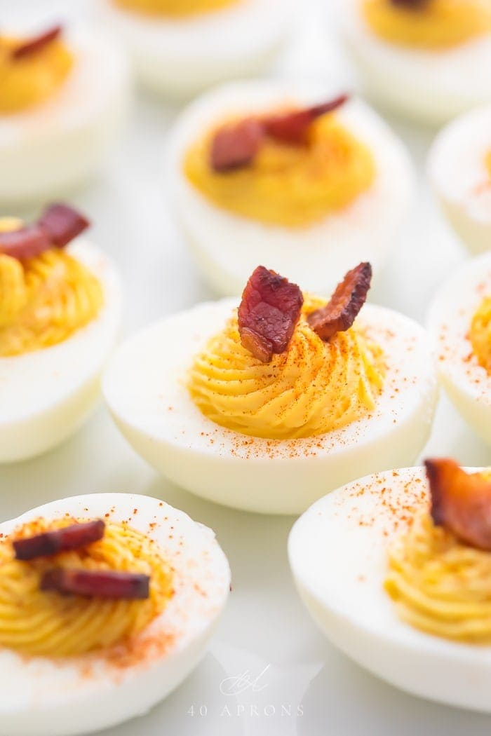 Perfect Whole30 deviled eggs with bacon