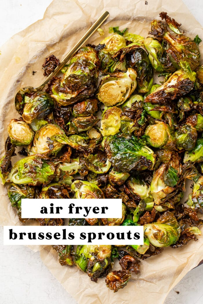 Air fryer brussels sprouts pinterest graphic