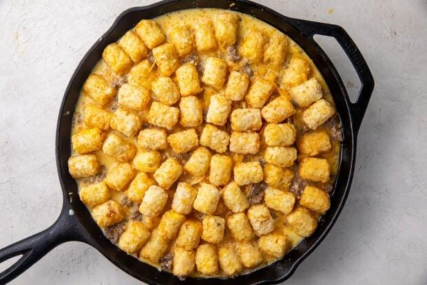 Castiron skillet with tater tot breakfast casserole