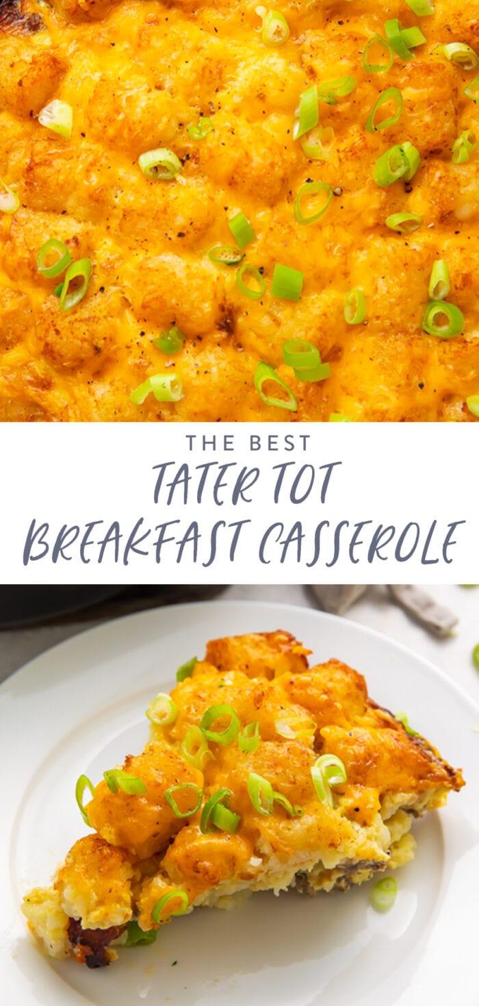 Pinterest graphic for tater tot breakfast casserole