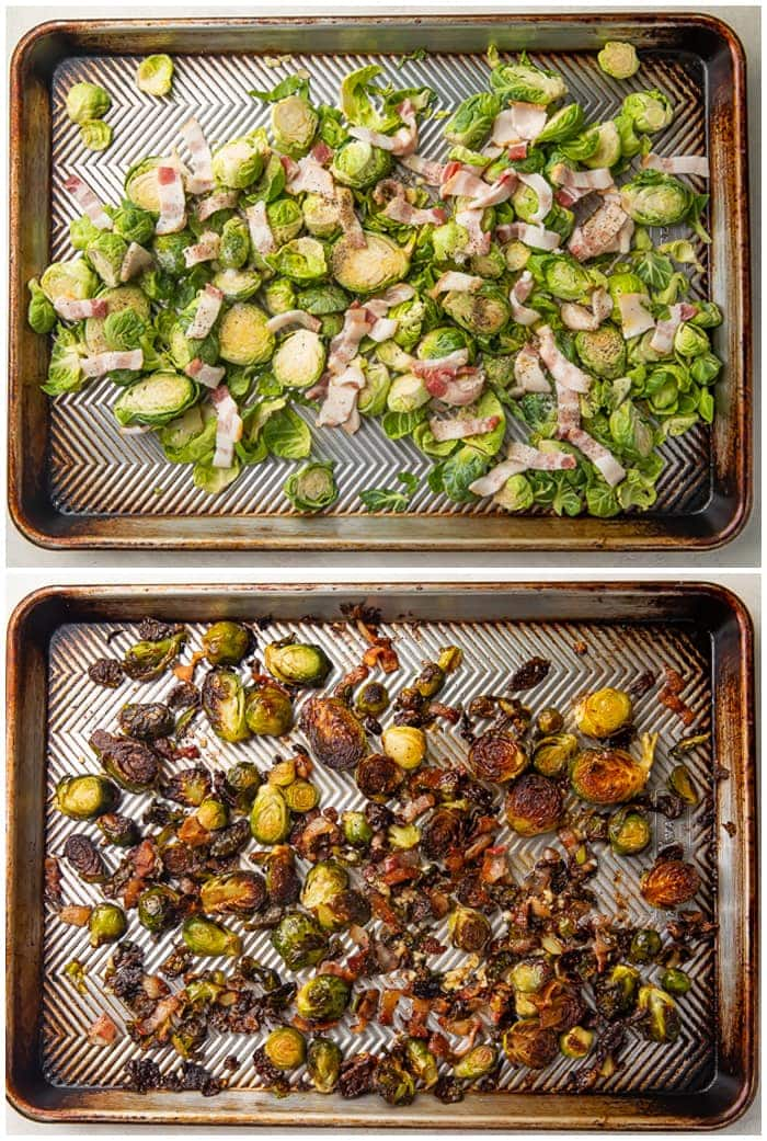 Before and after photos of brussels sprouts and bacon on a silver sheet pan