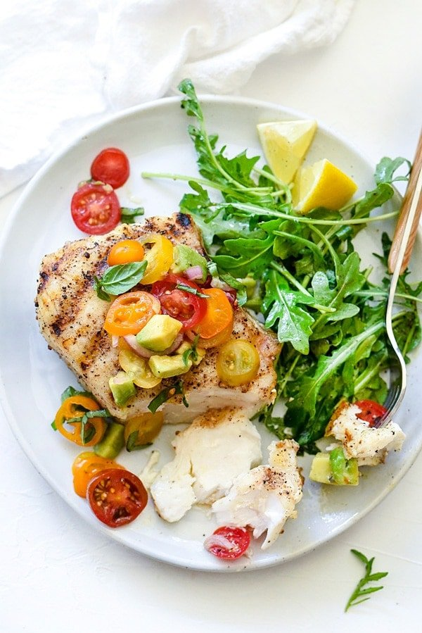 Grilled halibut with tomato avocado salsa