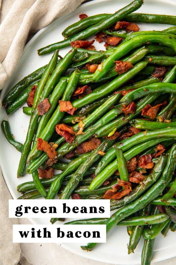 Pinterest graphic for green beans with bacon