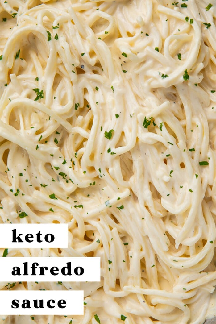 Pinterest graphic for keto alfredo sauce