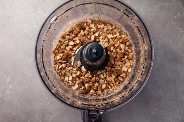 Whole nuts in a food processor for keto granola
