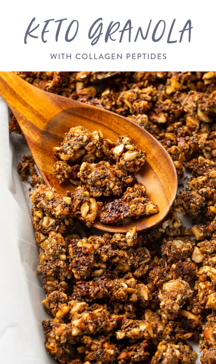 Pinterest graphic for keto granola