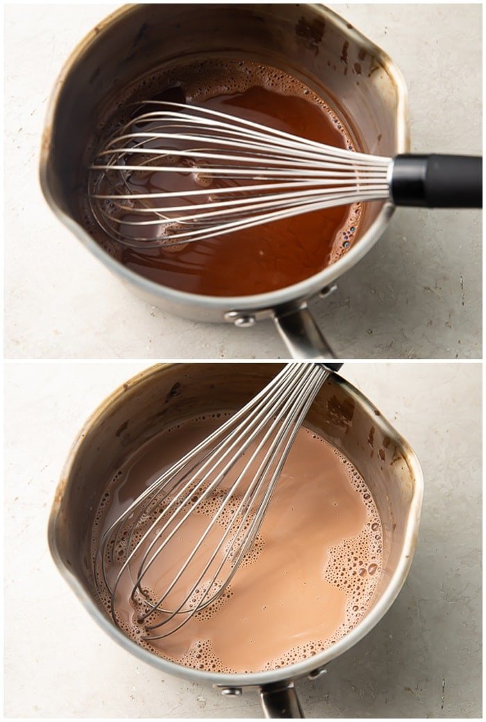 Two step process photo graphic for keto hot chocolate