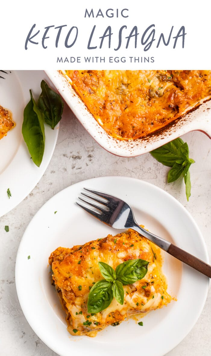 Pinterest graphic for keto lasagna