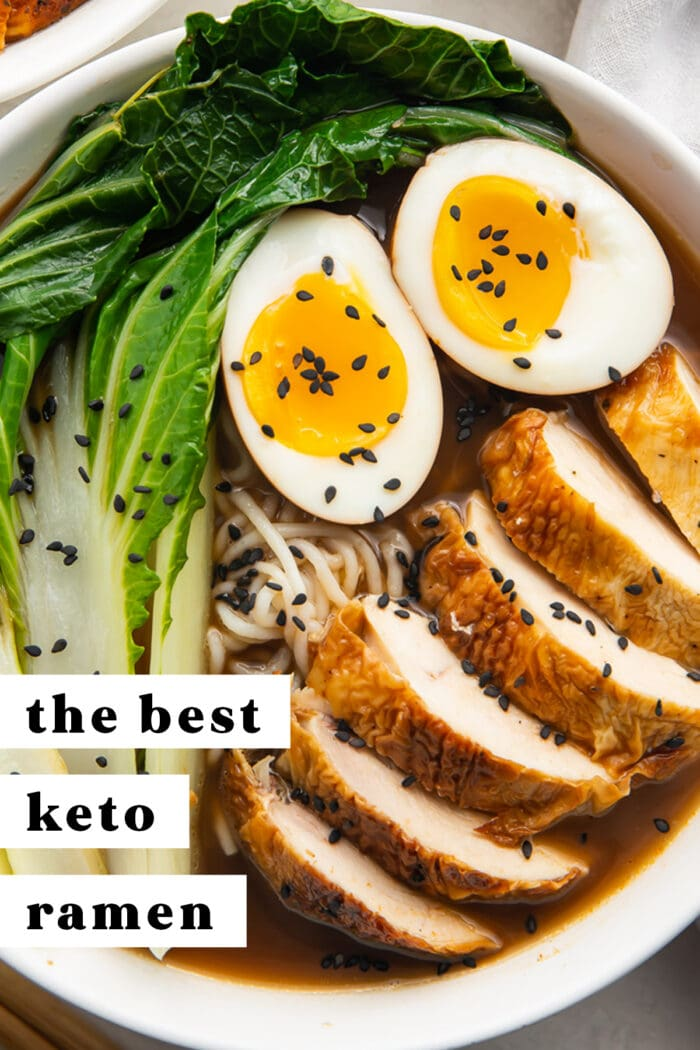 Pinterest graphic for keto ramen
