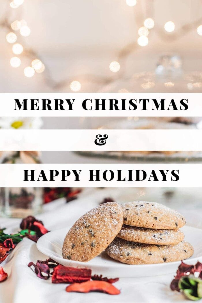 Merry christmas and happy holidays text over a Christmas tablescape with cookies and lights