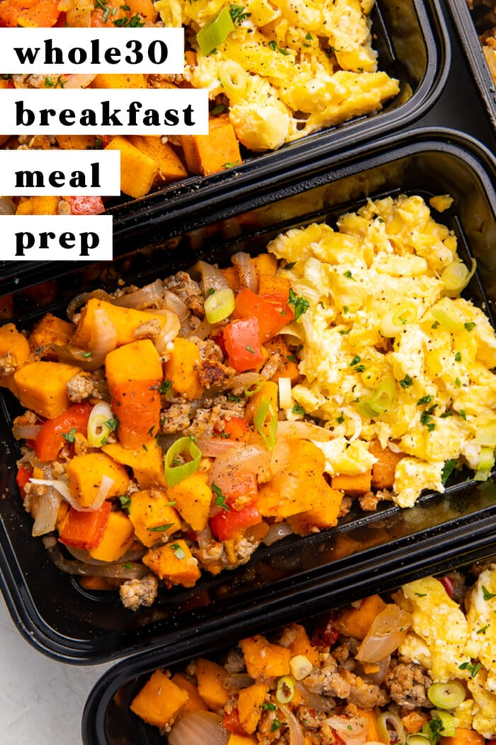 Pinterest graphic for whole30 breakfast meal prep