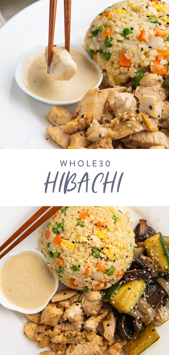 Pinterest graphic for whole30 hibachi