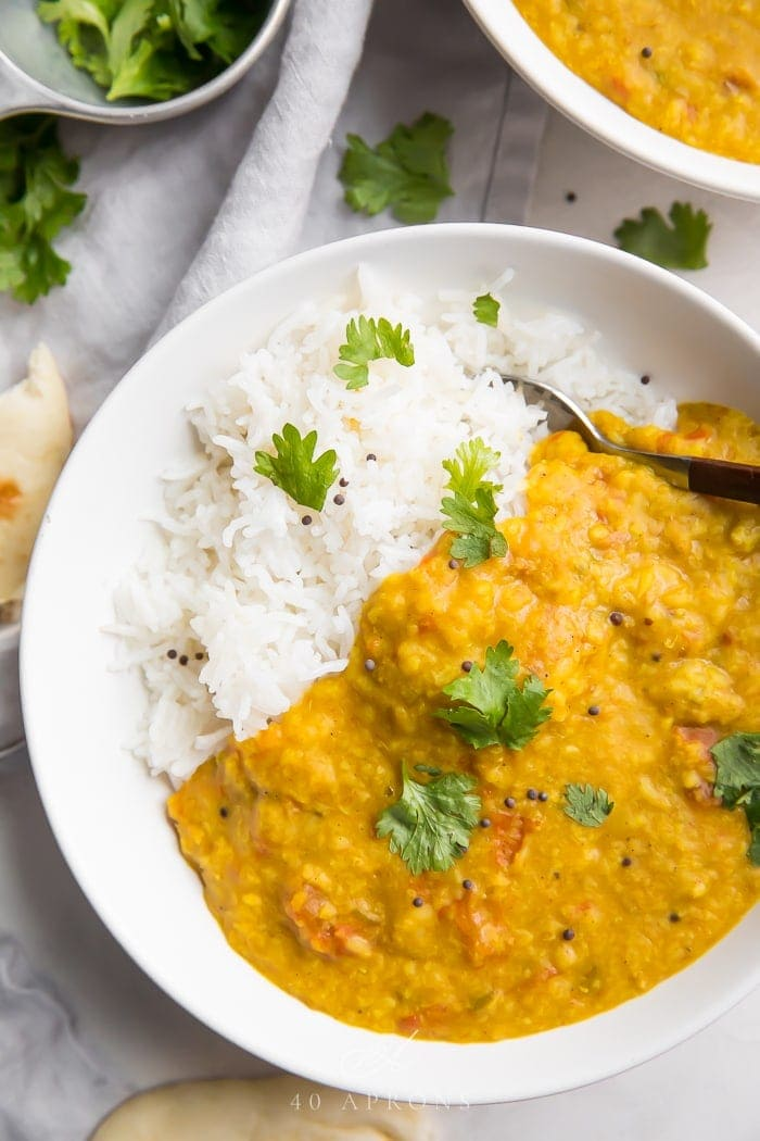 Close up photo of dal with rice