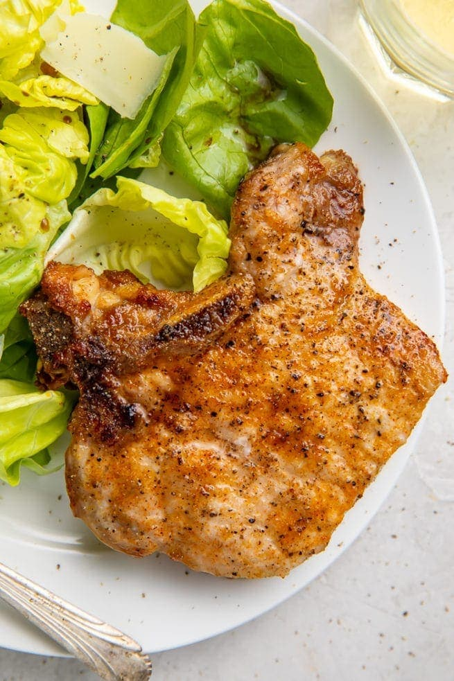 Air fryer pork chops with lettuce