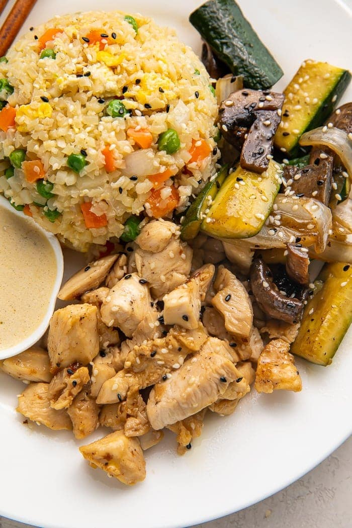 Paleo hibachi chicken, veggies, and cauliflower rice