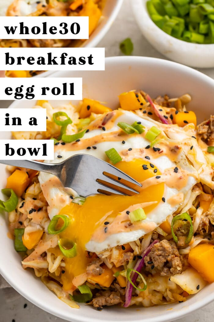 Pinterest graphic for breakfast egg roll in a bowl