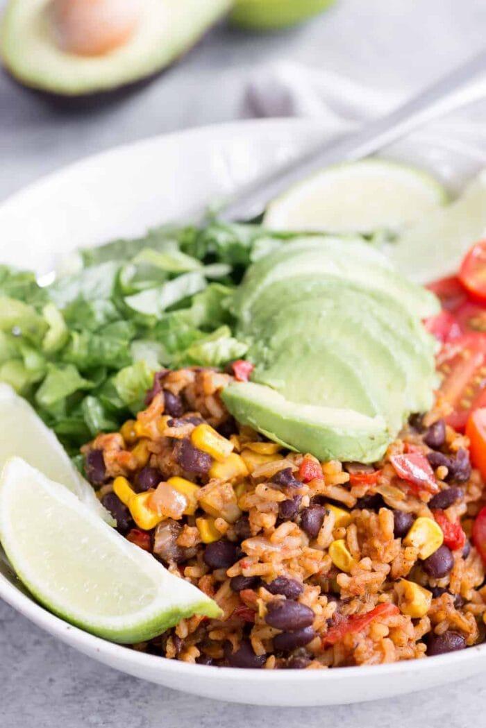 Vegan Mexican burrito bowl close up