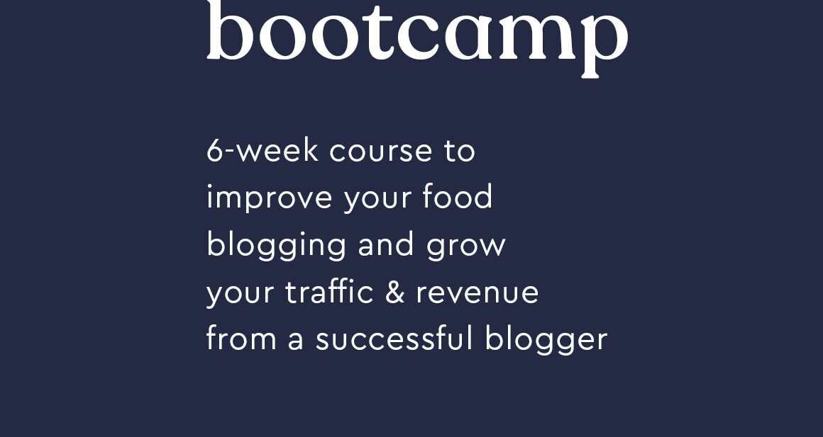 Food blogging bootcamp feature graphic with no images