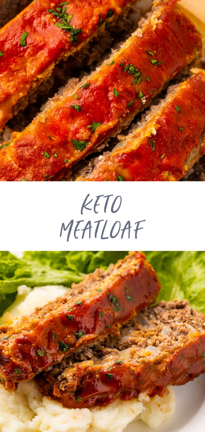 Pinterest graphic for keto meatloaf