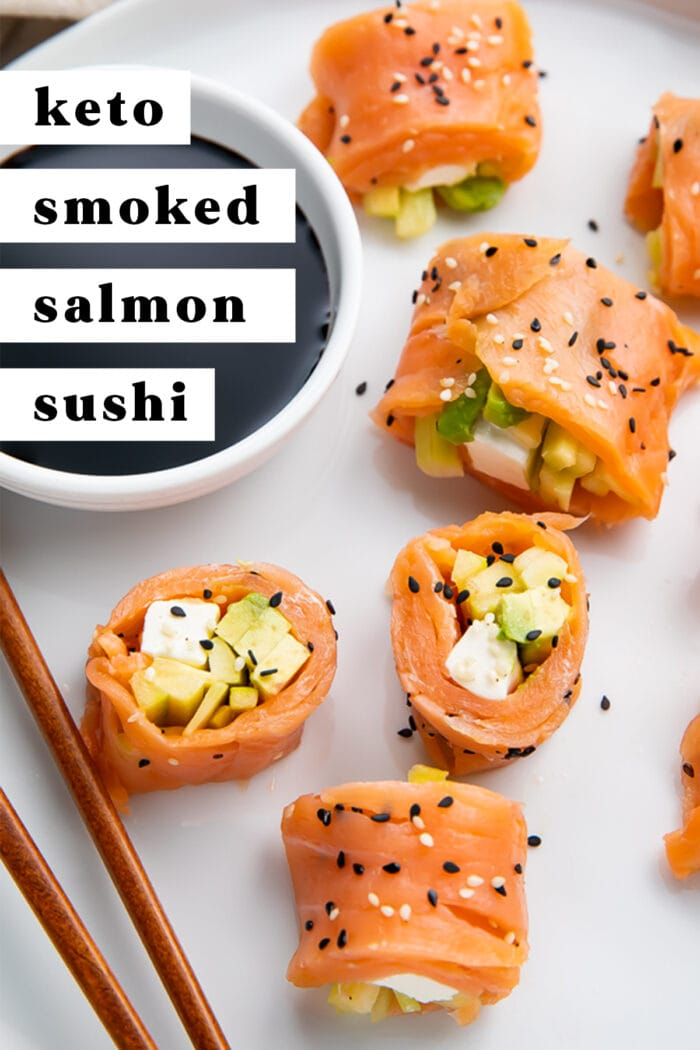 Pinterest graphic for keto smoked salmon sushi roll