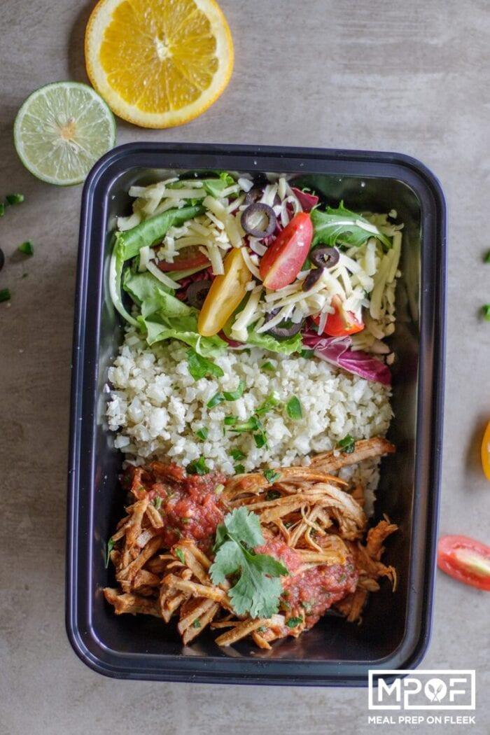 Pork carnitas meal prep bowl