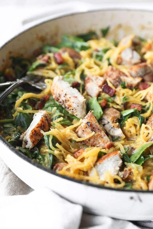 Spaghetti squash paleo carbonara in a saute pan