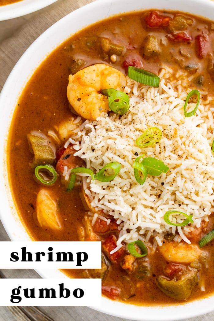 Shrimp gumbo Pinterest graphic
