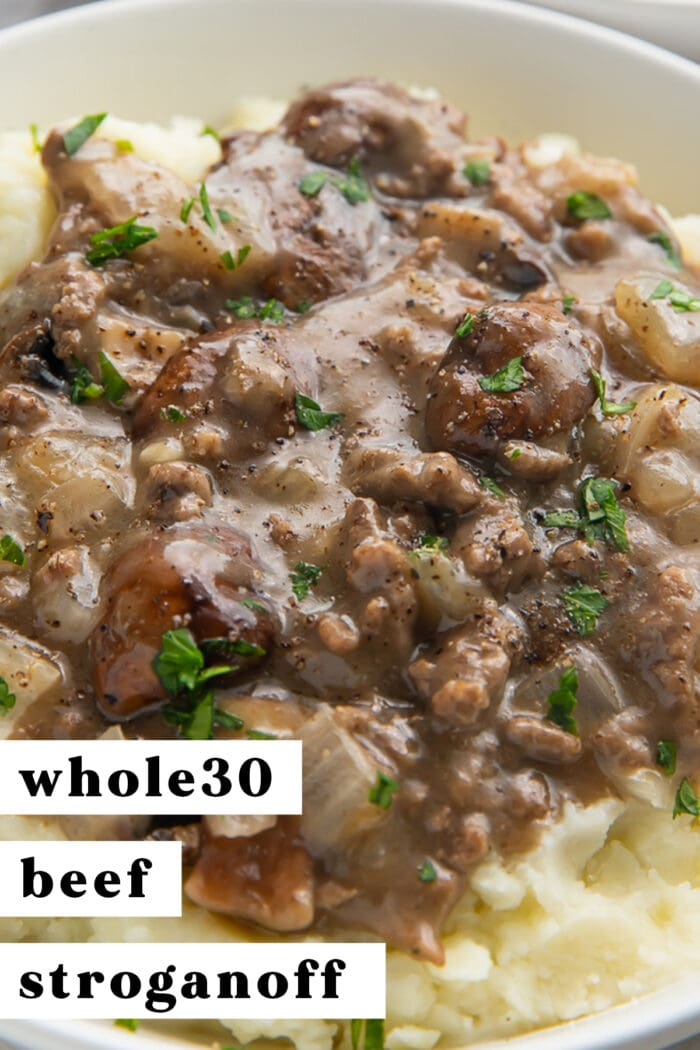 Pinterest graphic for whole30 beef stroganoff
