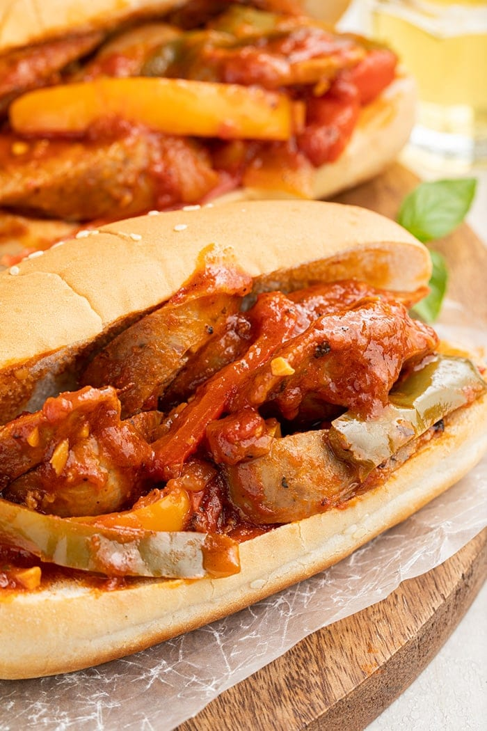Sausage and pepper sub sandwich