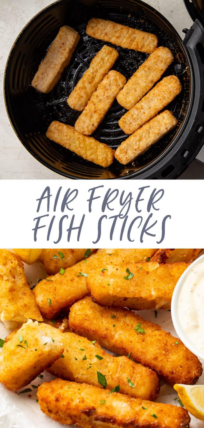 Pinterest graphic for air fryer fish sticks