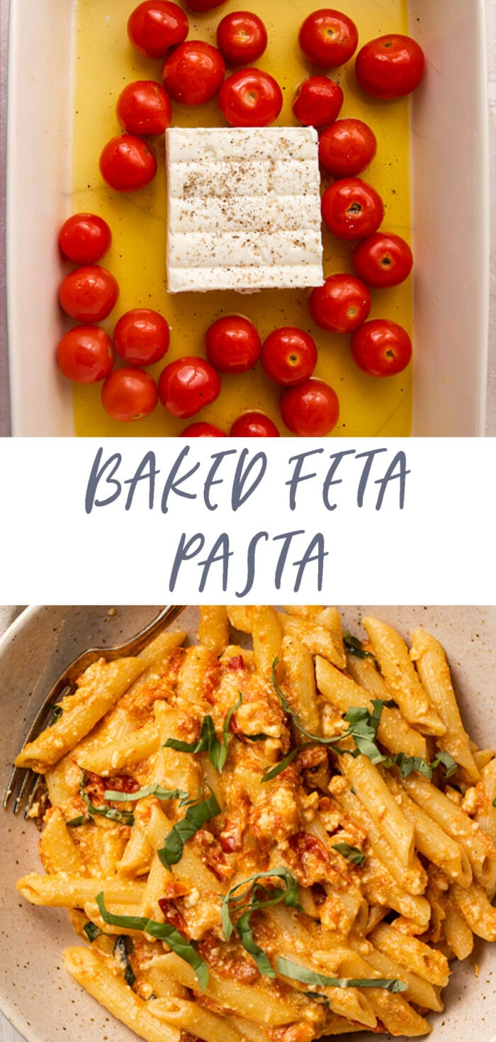 Pinterest graphic for baked feta pasta