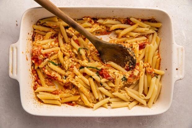 Baked feta pasta in a casserole dish