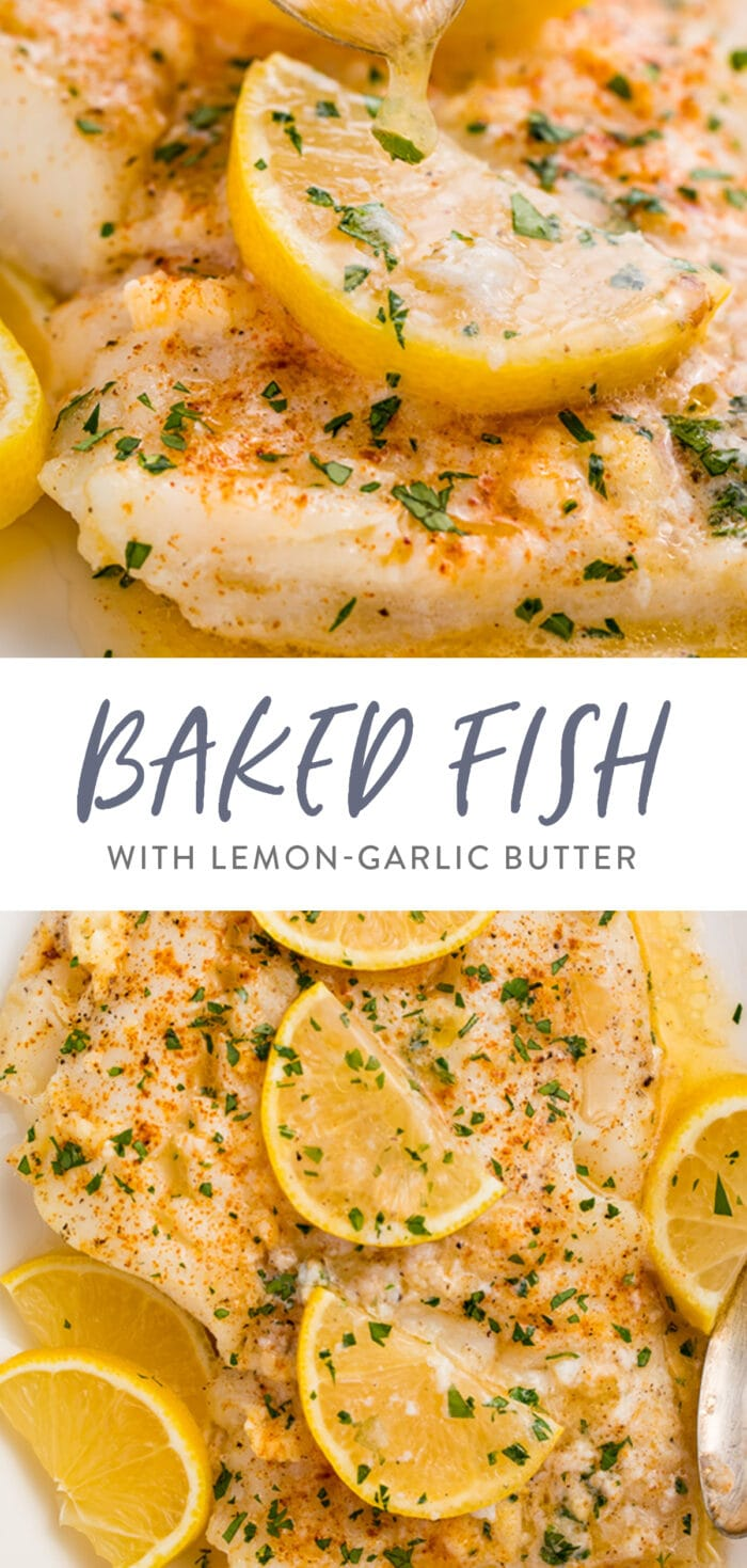 Pin graphic for baked fish with lemon-garlic butter