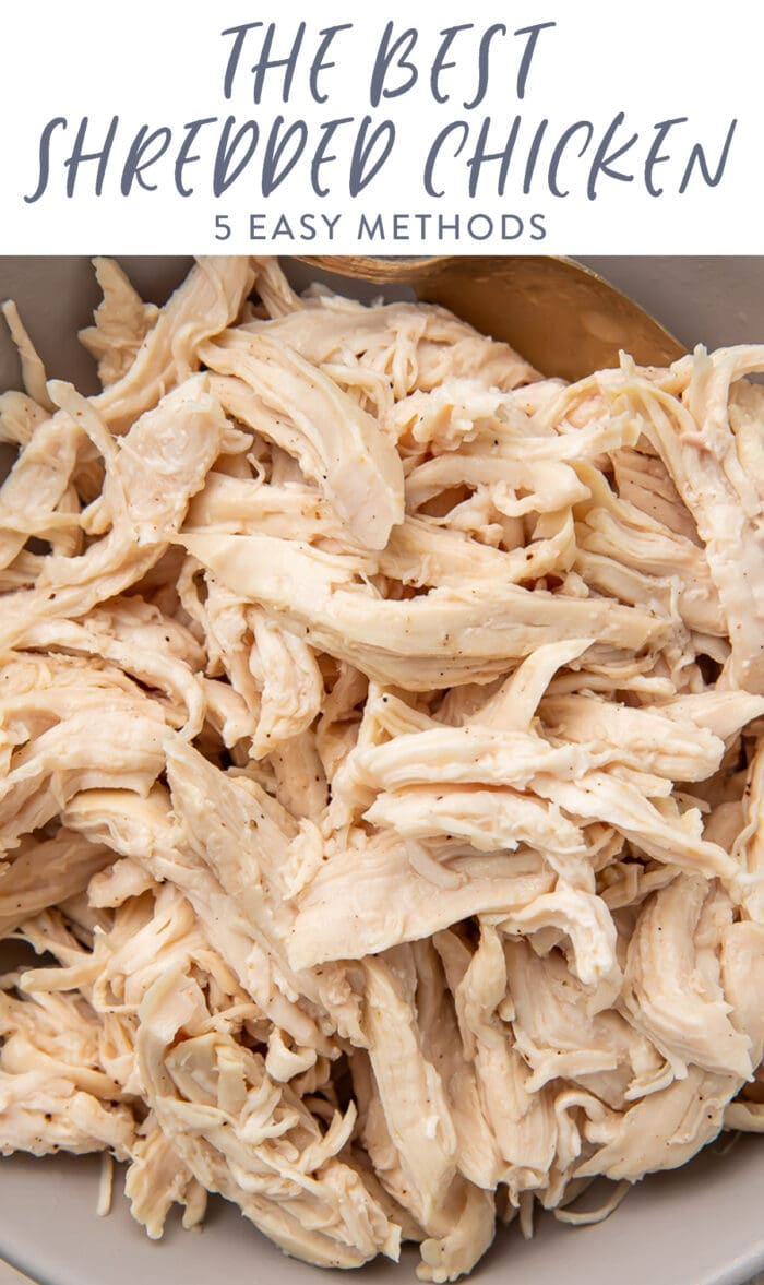 Pinterest graphic for shredded chicken
