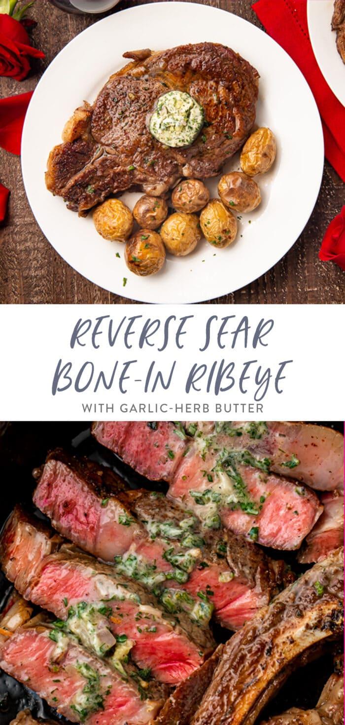 Pinterest graphic for bone-in ribeye
