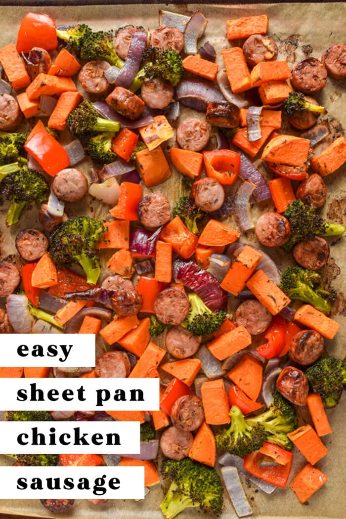 Pinterest graphic for sheet pan chicken sausage