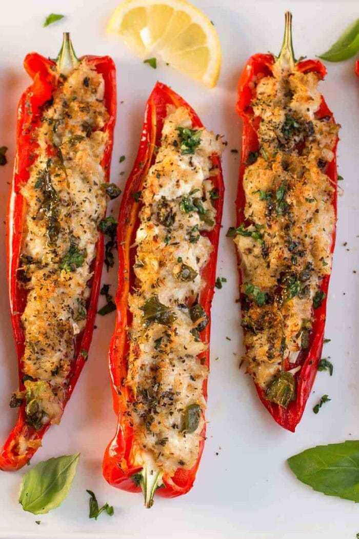 Crab stuffed red peppers