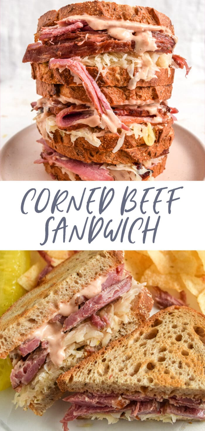 Pinterest graphic for corned beef sandwich