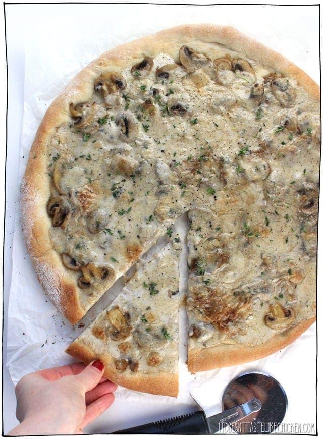 Mushroom coconut pizza