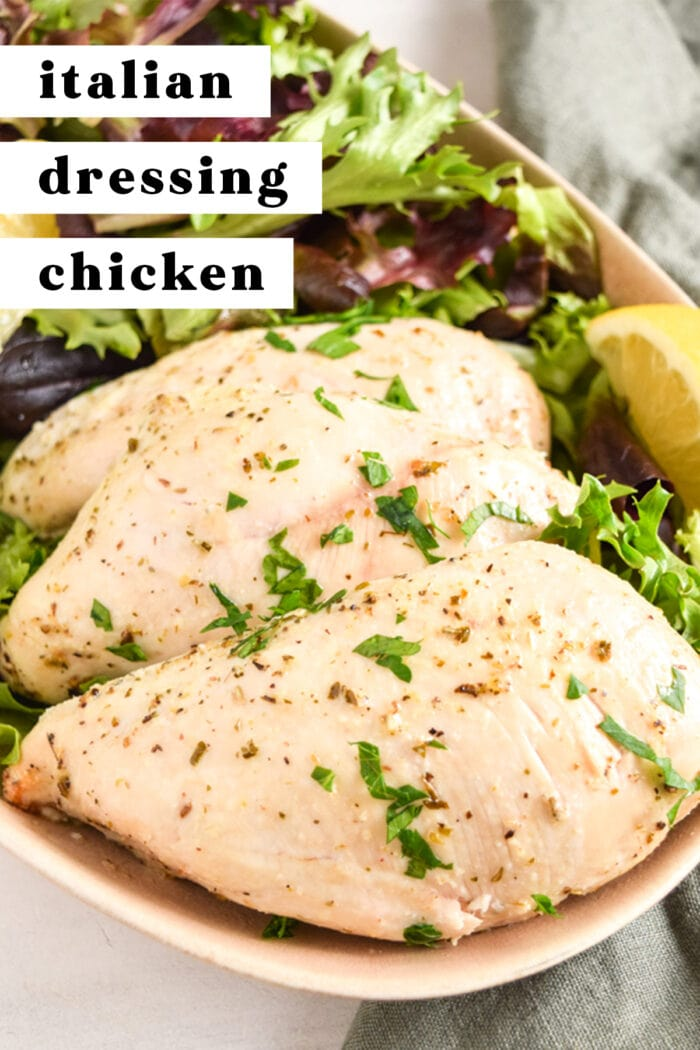 Pinterest graphic for Italian dressing chicken