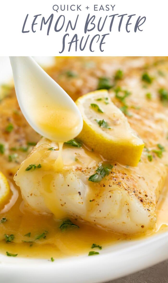 Pinterest graphic for lemon butter sauce
