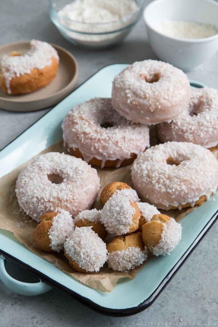 Coconut donuts with coconut milk glaze
