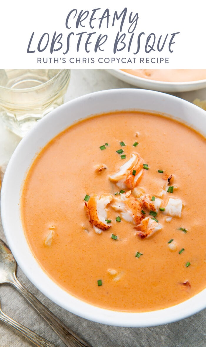 Pinterest graphic for lobster bisque