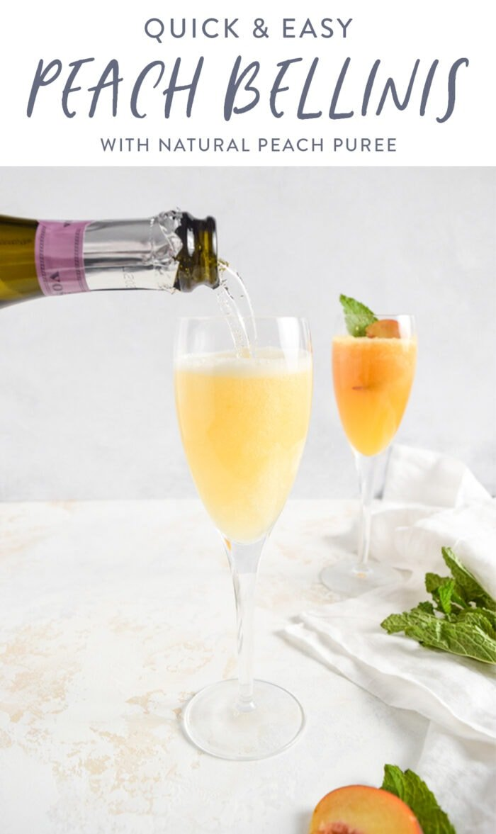 pinterest graphic for peach bellinis