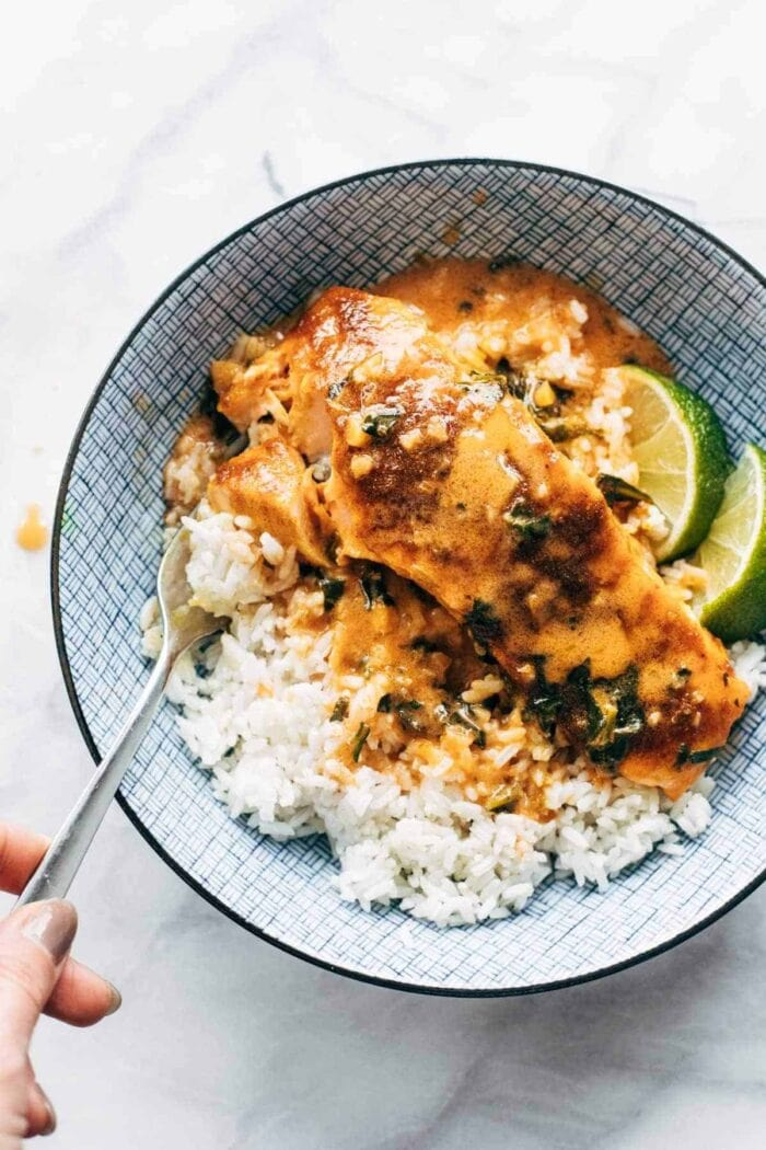 Coconut curry salmon in a bowl