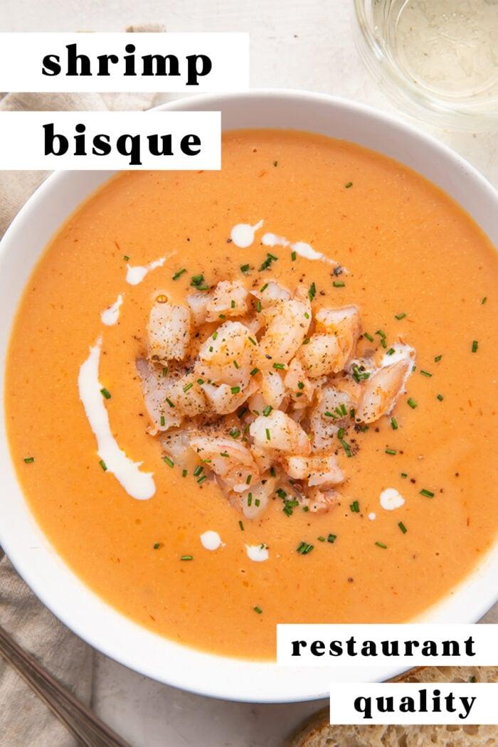 Pinterest graphic for shrimp bisque