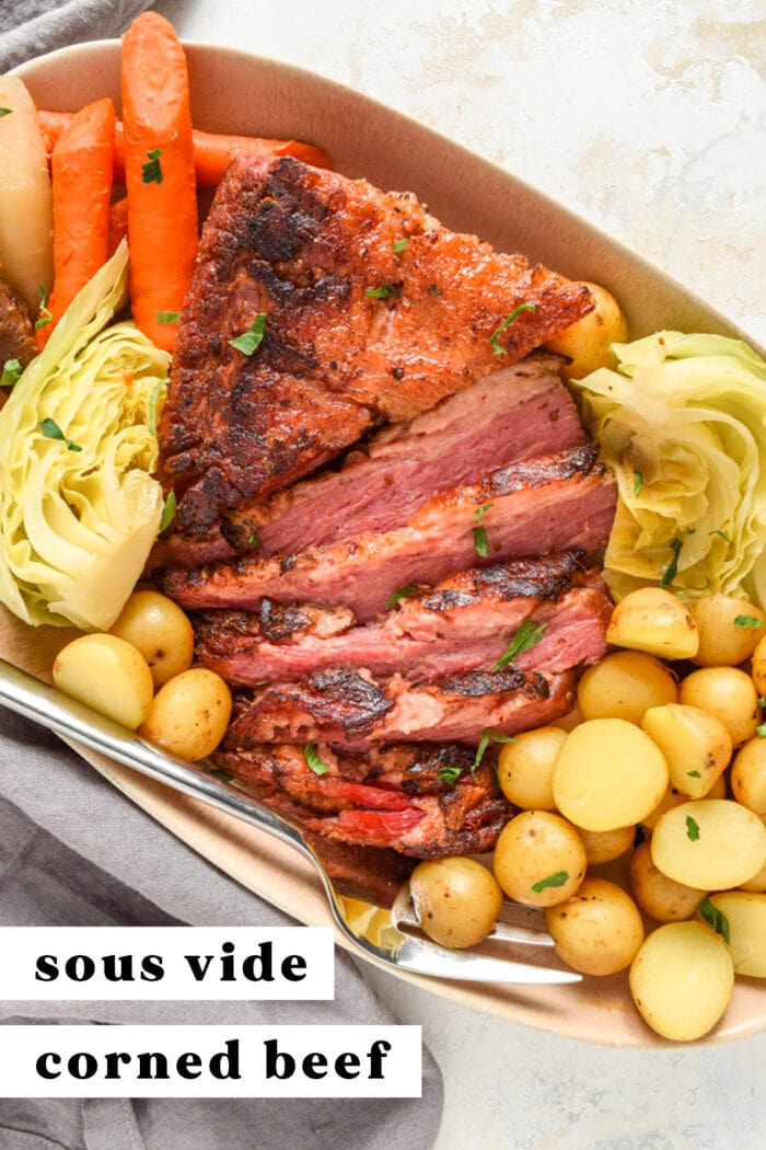 Pinterest graphic for sous vide corned beef