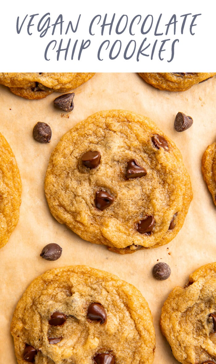Pinterest graphic for vegan chocolate chip cookies