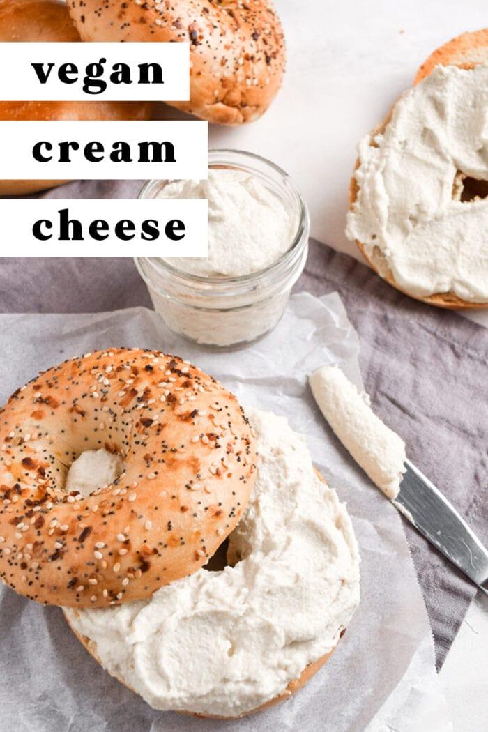 Pinterest graphic for vegan cream cheese